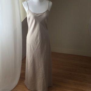 natural woven silk maxi dress sz 8